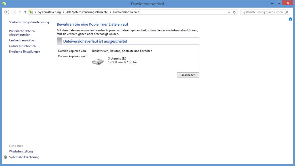 Einschalten des Dateiversionsverlaufs