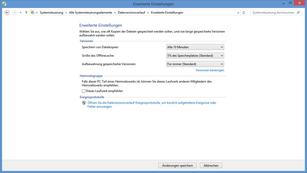 Erweiterte Einstellungen des Dateiversionsverlaufs
