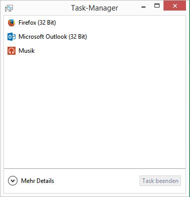 Taskmanager mit wenigen Details