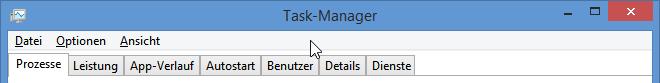 Die Menüleiste des neuen Taskmanagers