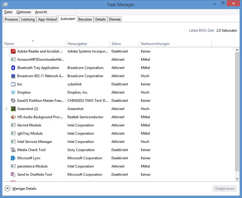 Die Registerkarte Autostart im Taskmanager unter Windows 8.1