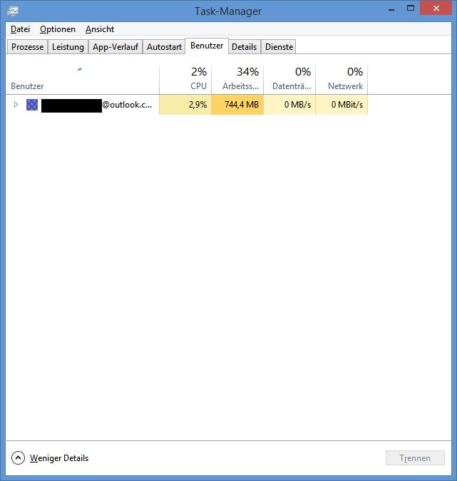 Die Registerkarte Benutzer unter Windows 8.1