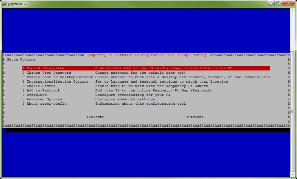 Konfigurationsoberfläche des Raspberry Pi